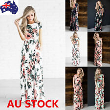 Women Summer Boho Floral Short Sleeve Long Maxi Dress Evening Party Beach Dress