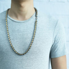 Byzantine Box Link Mens Necklace Chain Gold Silver Stainless Steel Customize 8mm