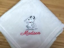 Personalized Happy Dancing Snoopy Peanuts Baby Blanket Girl Boy Monogrammed