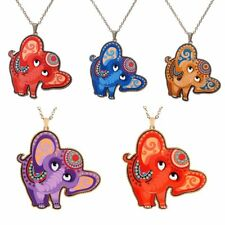 Women Colorful Printing Cute Animal Elephant Pendant Necklace Sweater Chain Gift