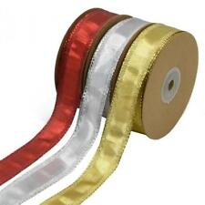 """22 Yds 1"""" Width Wired Glamour Christmas Ribbon for Gift Wrap Wedding Party Decor"""