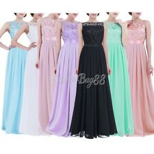 UK Women Lace Long Formal Wedding Evening Ball Gown Party Prom Bridesmaid Dress