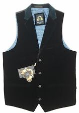 MENS MARC DARCY DRESSY FORMAL VELVET WAISTCOAT JO - NAVY BLUE