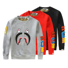 Unisex A Bathing Ape Bape Casual Pullover Shark Jaw Long-sleeved Sweater Hoodie