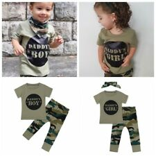 Infant Baby Boy Girl Camouflage T-shirt Tops Long Pants Outfit Camo Clothes Set