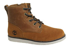 Timberland Newmarket Lace Up Side Zip Youths Brown Leather Boots A1A2N D106