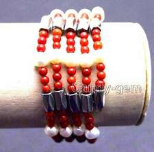 3-4mm Red Coral and White Pearl & White Hematite Magnetic 29'' Bracelet -nec6060