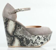 new STEVE MADDEN 'Wynnie' taupe open-toe snake WEDGES platforms shoes 10 - HOT