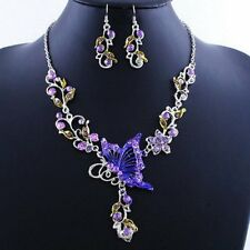 Charm Butterfly Crystal Necklace Earrings Set Women Wedding Engagement Jewelry