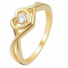 Christine 14KT Gold over Sterling Silver Hearts Arrows Engagement Wedding Ring