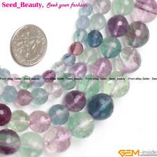 """Natural Fluorite Gemstone Loose Beads Strand 15"""" Round Faceted Green & Purple"""