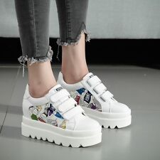 womens graffiti running lace-up platform sneakers athletic sports shoes sz 4-7.5