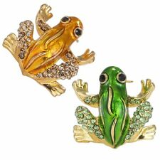 Cute Green Gold Animal Frog Rhinestone Crystal Brooch Pin Party Custome Jewelry
