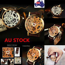 Fashion Men Women PU Leather Strap Quartz Analog Watch Sport Casual Wrist Watch