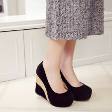 Fashion Womens Wedge Platform Faux Suede Wedding Party Slip On High Heel Shoes