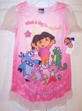 NWT Nick Jr Girls Dora the Explorer SS Pink Nightgown, English & Spanish, 2