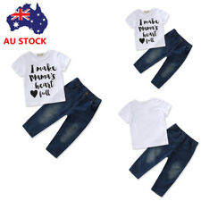 2PCS/Set Newborn Toddler Baby Kids Boys Girls T-Shirt+Jeans Pants Outfit Clothes