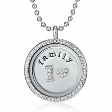 Living Memory Floating Charms Glass Love Family Locket Charm Pendant Necklace