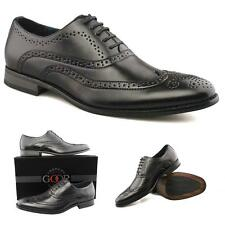 Mens New Black Brogue Leather Lined Lace Up Smart Shoes FREE EXPRESS DELIVERY