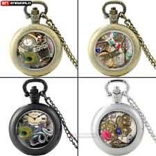 Vintage Antique Pocket Watch Quartz Dragonfly Steampunk Pendant Necklace Chain