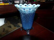 VINTAGE IMPERIAL GLASS LACED EDGE DIAMOND CUT BLUE FOOOTED VASE OPALESCENT