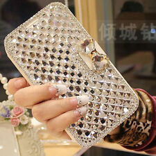 Bling Diamond Crystal Butterfly Flip Card Wallet Cover Case For iPhone/Samsung