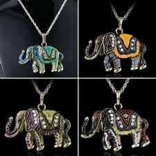 Crystal Elephant Animal Pendant Necklace Long Chain Jewelry Mother's Day Gift