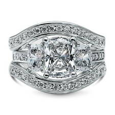 BERRICLE Silver Cushion Cubic Zirconia CZ 3-Stone Engagement Ring Set 4.58 Carat