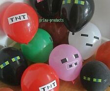 12 x Themed Latex Party Balloons, Minecraft official Sticker Pack,Party Supplies