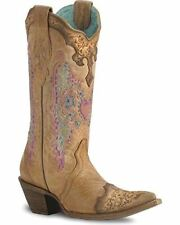 CORRAL Women's Lace and Heart Embroidery Cowgirl Boot Pointed Toe - C1608