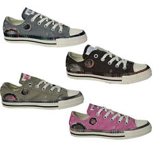 Converse All Star CT Lo Top Patchwork Lace Up Trainers Pink Charcoal Brown Olive