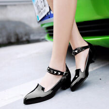 Womens Mary Jane Rivet Strap PointY toe pumps Low Chunky Heel Shoes sweet