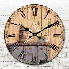 Antique Clock Wall Rustic Art Vintage Style Wooden Round Clocks Home Decor