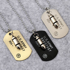 Vintage Men Military Army Bullet Dog Tags SINGLE EMBOSSED Chain Pendant Necklace