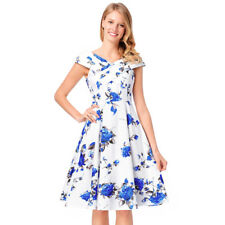 Womens 50s Retro Rockabilly Evening Cocktail Party Skater Swing Mini Tea Dress