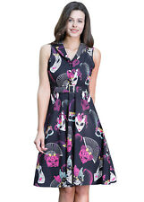1950s Womens Swing Tea Dress Evening Party Rockabilly Floral Print Mini Dress