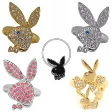 Playboy Ring Size S 5 6 7.5 Gold Silver Band Ladies Pink Swarovski Crystal Bunny