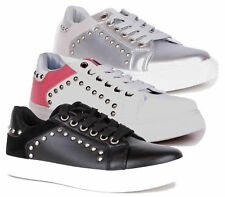 WOMENS STUDS SLIP ON FLAT SKATER LACE UP TRAINERS SNEAKERS PLIMSOLL PUMPS SHOES