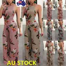 Women Floral Backless Sleeveless Jumpsuit Wide Leg Pants Party Playsuit Rompers