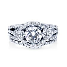 Sterling Silver 925 Vintage CZ Round Halo Engagement Ring Wedding Band Set 5-10