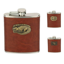 Hip Flask Stainless Steel - Brown Leather Effect - 8oz 3 Patterns