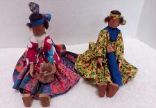 2 Handcrafted Wood Native American Dolls with Handmade clothes