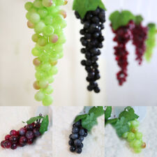 1 Bunch Artificial Grape Cluster Plastic Decorative Grapes Fake Green Red Exotic