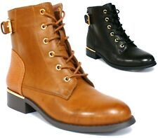 WOMENS COMBAT ARMY MILITARY BIKER FLAT LACE UP WORKER LADIES ANKLE BOOTS SIZE