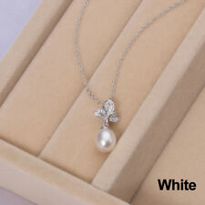 CYNMOON natural freshwater pearl pendant necklace leaf shaped silver jewelry