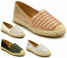 Ladies Womens Flats Casual Slip On Espadrilles Sandals Diamante Pumps Shoes Size