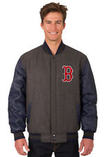 MLB BOSTON RED SOX JH DESIGN LEATHER WOOL POLY TWILL REVERSIBLE JACKET 203 REF7