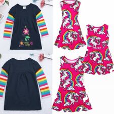 New Cotton Kids Baby Girls Dress Unicorn Striped Dress Long Sleeve Party Dresses