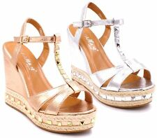 Ladies Womens High Wedge Studded Espadrilles Platform Strappy Sandals Shoes Size