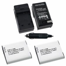 2x Li-50B Battery+1x Car Home Charger For Olympus mju Touch 6020 9000 XZ-1 XZ-10